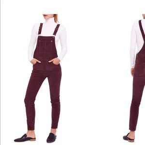 Free People maroon Corduroy overalls! Size 27